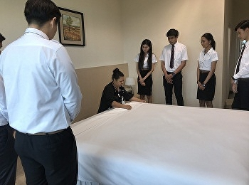 Hotel Management Program by Ms.Nuntana Ladplee, lecturer, demonstrated how to make a bed for hotel room and spa scrub for video presentation on 4th of April 2019.