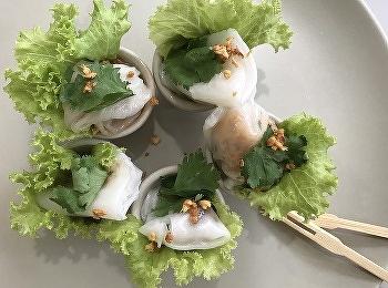 """อาจารย์นคภรณ์ เกตุโกมุตและแขกรับเชิญพิเศษ คุณปัทมดล รังสิโกสัย เชฟและเจ้าของร้านอาหารไทย """"อกาลิโก""""จากประเทศอังกฤษ จัดการเรียนการสอนในรายวิชา HIR3407 Salads and Appetizers Preparation สำหรับนักศึกษาสาขาวิชาการโรงแรม เอกธุรกิจภัตตาคาร ปีที่3"""