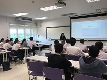 อาจารย์กันยาพิไล กุญชรศิริมงคลกุล สาขาวิชาการโรงแรม จัดการเรียนในหัวข้อ การนำเสนอผลงานอย่างมืออาชีพให้กับนักศึกษาใหม่ วันที่ 12 มิถุนายน 2562