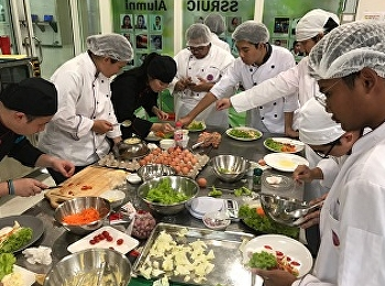 Restaurant Business Students Code60 of Hotel Management Program Practiced Preparing Food in HIR3406 Breakfast and Sandwich Preparation & HIR3407 Salad and Appetizer, a class by Ms.Yupaporn Kithwang