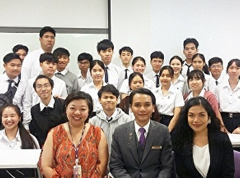 Hotel Management Student code59, Mr.Alinnavatthanavipa Pethcharadeethon, supervised by Miss Nanatana Ladplee. He was sharing his internship experience at Hotel Nikko Bangkok with other Hotel Management Students Code 60, 61 and 62.