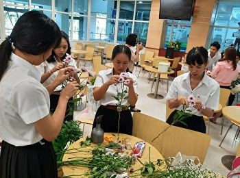 Miss Nuntana Ladplee and Hotel Management Students Code60 in Flower Arrangement Practice as A Part of Art & Decoration in Hotel Business Subjects, On 29th of October 2019