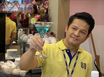 Mister Thanasith Suksutdhi, Lecturer of Hotel Management Program, International College, Suan Sunandha Rajabhat University Demonstrated How to Prepare Standard Cocktail in a Class of IAL3409 Food and Beverage Management and Table Etiquette on 13th of Nove