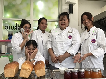 Students of Hotel Management, Majoring in Restaurant Business Code 61 in Cooking Practice of Bread and Jam for HIR3406 Breakfast and Sandwiches Preparation, By Miss Yupaporn Kithwang, March 12, 2020.