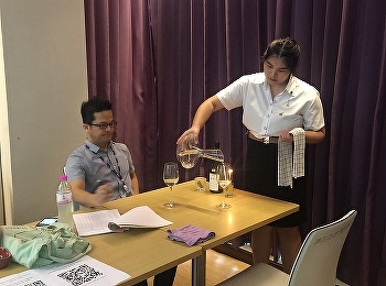 Hotel Management & Restaurant Business Students Code 61 in Practical Examination of Wine and Food Pairing Service with Mr.Thanasit Suksutdhi on November 25th, 2020.